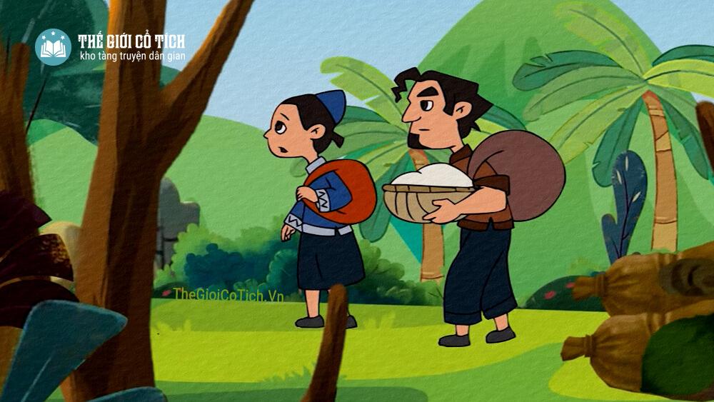 Hình minh họa hai vợ chồng trong truyện