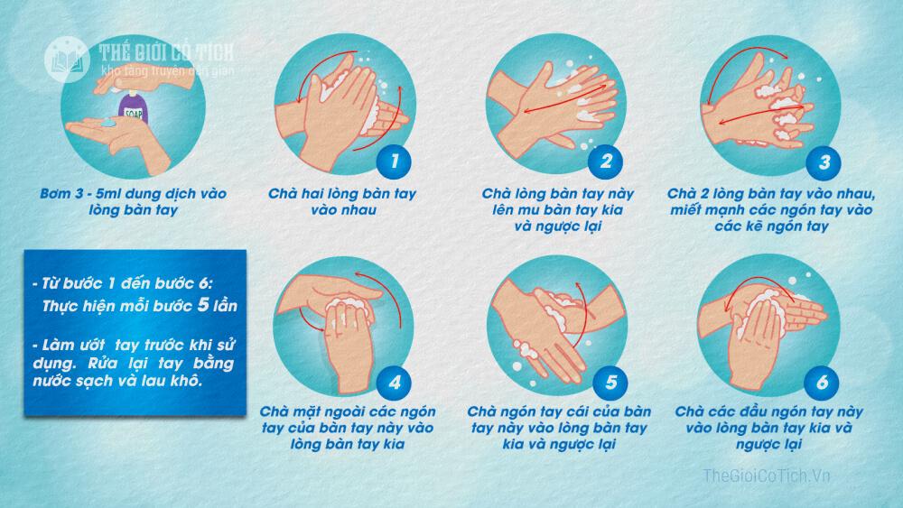6 bước rửa tay thường quy của Bộ y tế